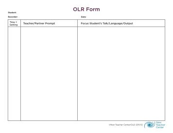 OLR Form - Oral Language Development - New Teacher Center