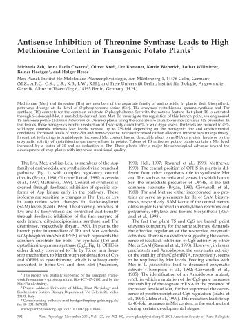 Antisense Inhibition of Threonine Synthase Leads ... - Plant Physiology