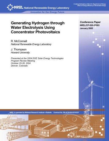 Generating Hydrogen through Water Electrolysis Using - NREL