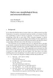 Dative case, morphological decay, and structural ... - John Benjamins