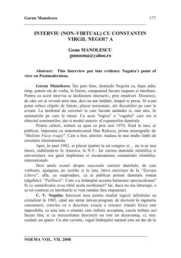 interviu (non-virtual) cu constantin virgil negoi? - noema