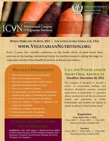 program highlights - International Congress on Vegetarian Nutrition
