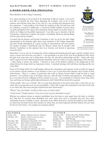 Bulletin, Issue 30, 2012 - Mount Carmel College