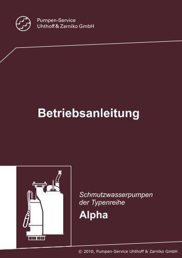 Alpha - Betriebsanleitung - Uhthoff & Zarniko