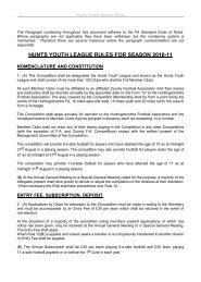 hunts youth league rules for season 2010-11 - The Football ...