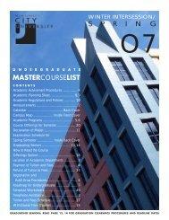 MASTERCOURSELIST S P R I N G - New Jersey City University
