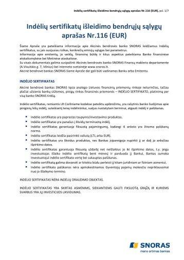Indėlių sertifikatų išleidimo bendrųjų sąlygų aprašas Nr.116 ... - Snoras