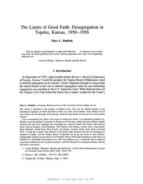 HeinOnline -- 5 Law & Hist. Rev. 351 1987