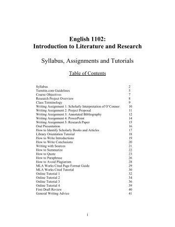 syllabus for intro to literature