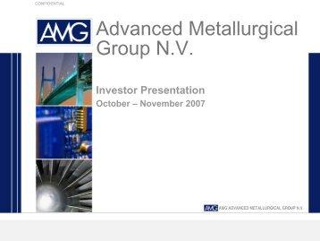 View this Presentation (PDF 566 KB) - AMG Advanced Metallurgical ...