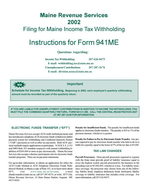 941 form where to mail  Instructions for Form 10ME - Maine.gov