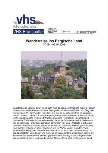 Wanderreise ins Bergische Land - Volkshochschule Brunsbüttel eV