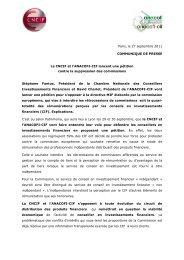 Paris, le 27 septembre 2011 COMMUNIQUE DE PRESSE ... - Anacofi