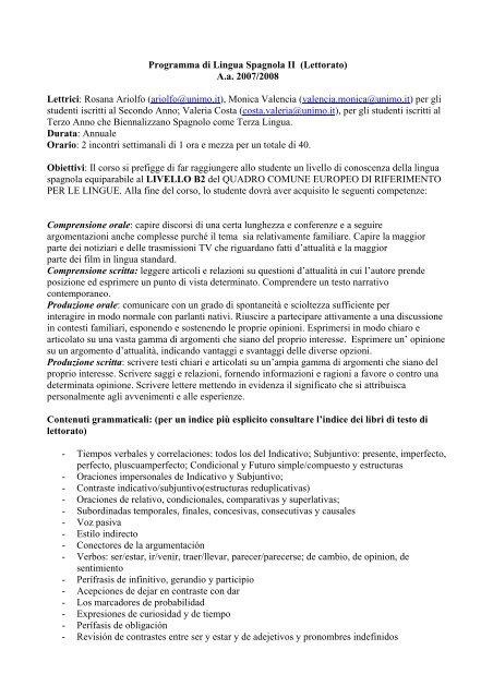 Programma di Lingua Spagnola II (Lettorato) A.a. 2007/2008 Lettrici ...