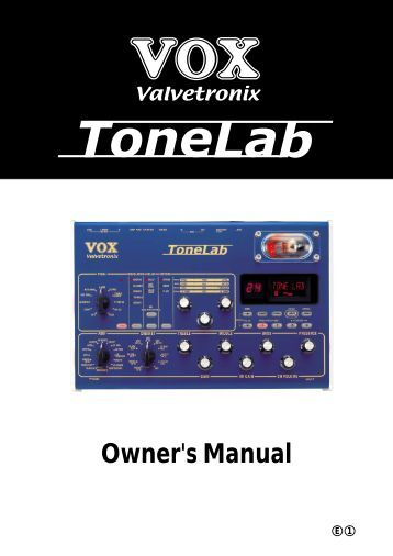ToneLab Owner's Manual - Vox