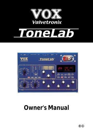 Vox Valvetronix ToneLab SE user manual