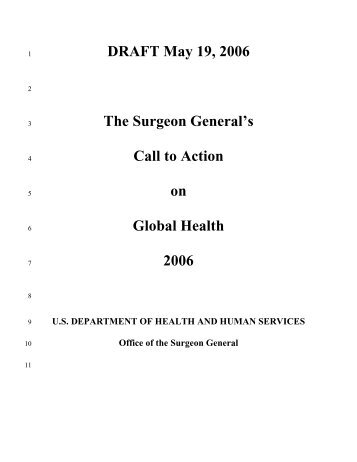 Surgeon General's Call to Action on Global Health - Washington Post