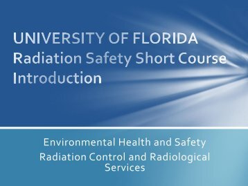 Environmental Health and Safety Radiation Control and ...