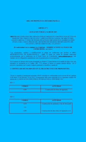 AREA METROPOLITANA DE BARRANQUILLA ADENDA N° 2 ...