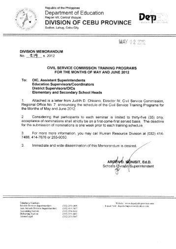 Memo No. 219, S. 2012 - DepEd Cebu Province