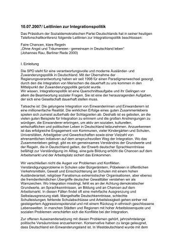 10.07.2007/ Leitlinien zur Integrationspolitik