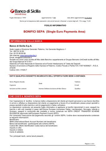 BONIFICI SEPA (Single Euro Payments Area)