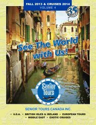 Senior Tours Canada Fall 2013 & Cruises 2014 – Volume 4