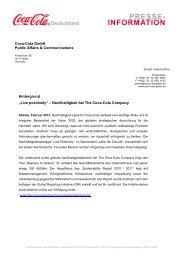 Unternehmerische Verantwortung international - Coca-Cola GmbH