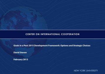 Goals in a Post-2015 Development Framework - Center on ...