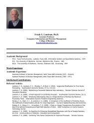 Frank G. Landram, Ph.D. Academic Background Work Experience ...