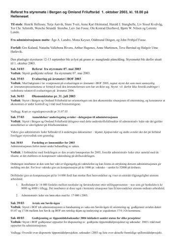 Referat fra styremøte i Bergen og Omland Friluftsråd 1. oktober 2003 ...