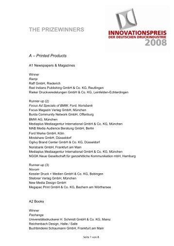 THE PRIZEWINNERS - Innovationspreis 2012