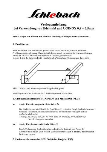 Verlegeanleitung bei Verwendung von Edelstahl und UGINOX 0,4 + ...