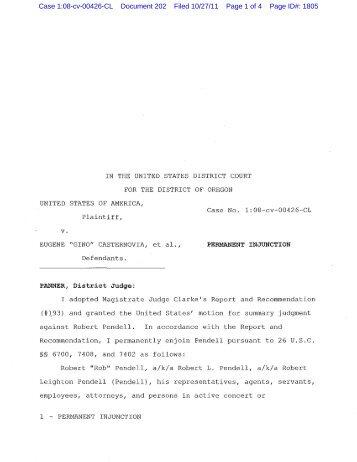 v. Case 1:08-cv-00426-CL Document 202 Filed 10/27/11 Page 1 of ...