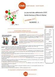 Numéro 1 Décembre 2012 - CFDT Santé Sociaux