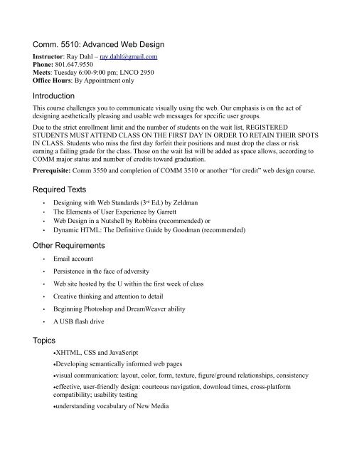 Comm 5510 Advanced Web Design Introduction Required Texts