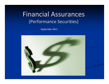 Financial Assurances