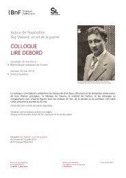 Colloque Lire Debord-programme - l'Institut suédois à Paris