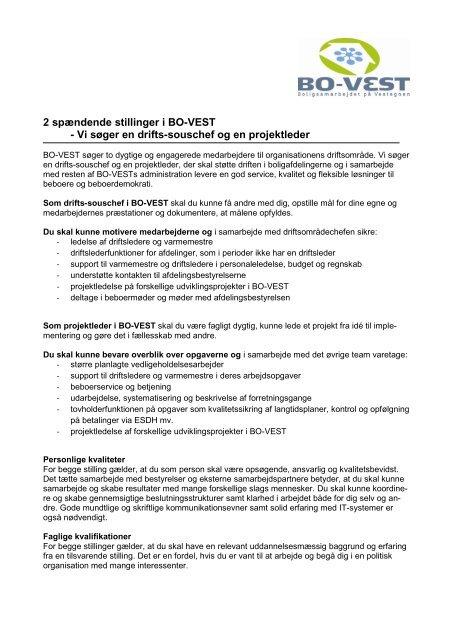 2 spændende stillinger i BO-VEST - Vi søger en drifts-souschef og ...