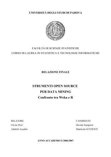 STRUMENTI OPEN SOURCE PER DATA MINING Confronto tra ...