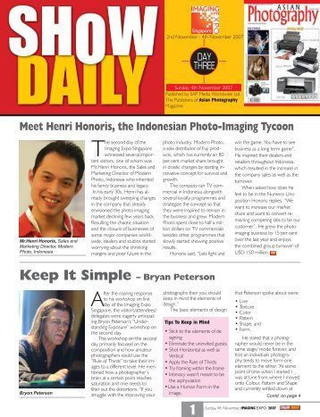 1 Sunday, 4th November, IMAGING EXPO 2007 - Show Daily