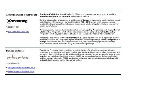 Armstrong World Industries Ltd Bamboo Surfaces - Capita Symonds