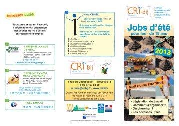 Jobs d'été pour les moins de 18 ans - CRI-Bij