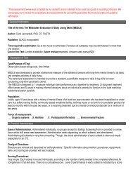 Milwaukee Evaluation of Daily Living Skills