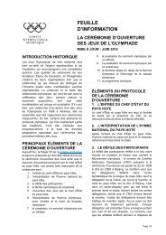 FEUILLE D'INFORMATION - International Olympic Committee