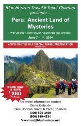 Peru: Ancient Land of Mysteries flyer - Blue Horizon Travel & Yacht ...