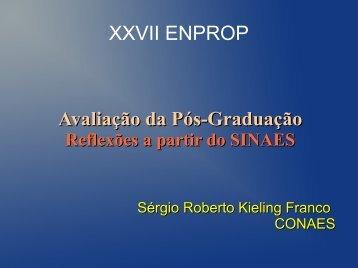 Avaliação da Pós-Graduação XXVII ENPROP - Propesp