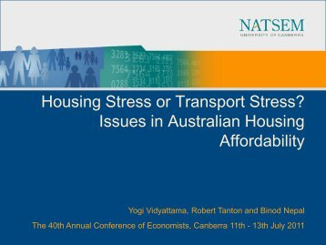 Housing Stress or Transport Stress? Issues in Australian ... - NATSEM