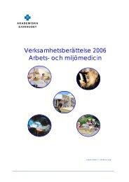 2006 - Arbets- och miljömedicin   Uppsala