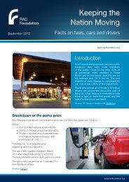 Fuels, cars and drivers - September 2012 factsheet - RAC Foundation